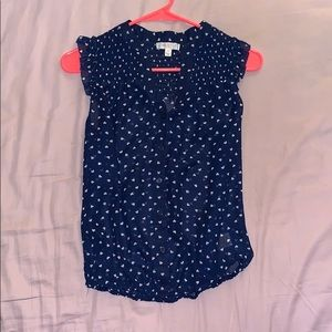 Navy blouse with heart pattern